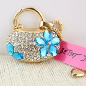 NWT Betsey Johnson blue flower purse necklace